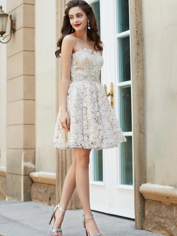 30400e692a A-Line Princess Sweetheart Sleeveless Rhinestone Short Mini Lace Dresses -  Hebeos Online