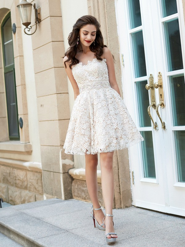 6ae9f9df9d A-Line Princess Sweetheart Sleeveless Rhinestone Short Mini Lace Dresses