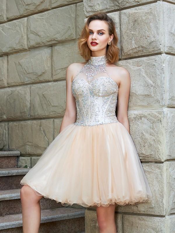 384579505e A-Line Princess Halter Sleeveless Beading Net Short Mini Dresses ...