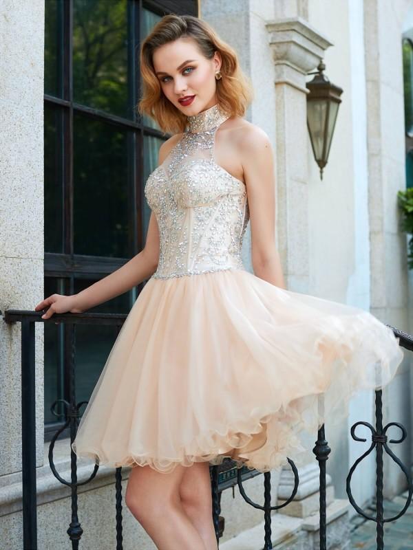 a41da88a167 A-Line Princess Halter Sleeveless Beading Net Short Mini Dresses - Hebeos  Online