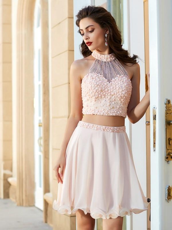 423f9483719 A-Line Princess Halter Beading Sleeveless Chiffon Short Mini Two Piece  Dresses