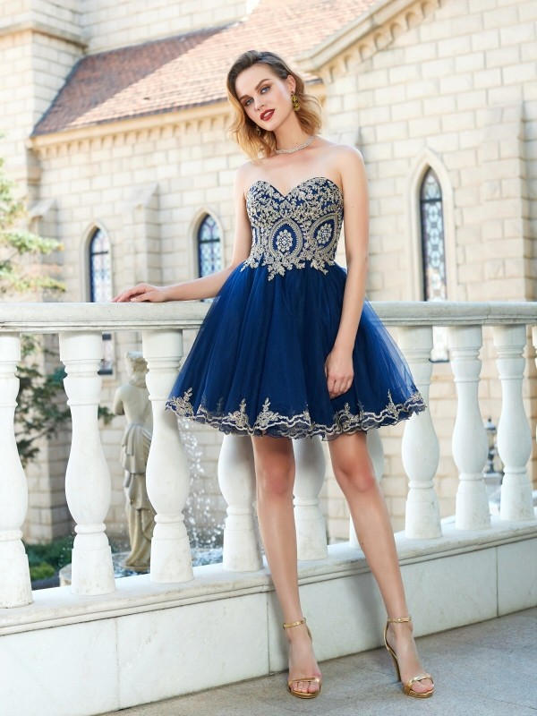 A-Line Princess Sweetheart Sleeveless Applique Short Mini Net Dresses -  Hebeos Online 054654c6f