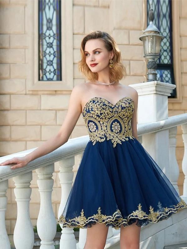 2c72a01a7c9e A-Line Princess Sweetheart Sleeveless Applique Short Mini Net Dresses