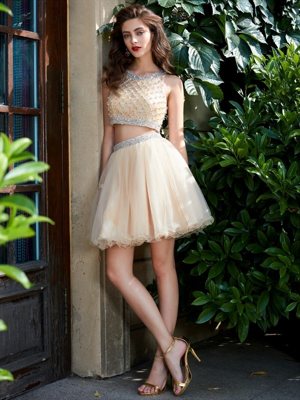 75cd9aea2e A-Line Princess Scoop Net Sleeveless Beading Short Mini Two Piece  Homecoming Dresses - Hebeos Online