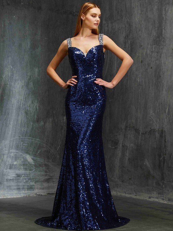 4e2b605056 Sheath Column V-neck Sleeveless Sweep Brush Train Beading Sequins Dresses