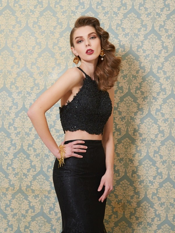 ac35984d77f Trumpet Mermaid Spaghetti Straps Sleeveless Applique Floor-Length Tulle Two  Piece Dresses - Hebeos Online