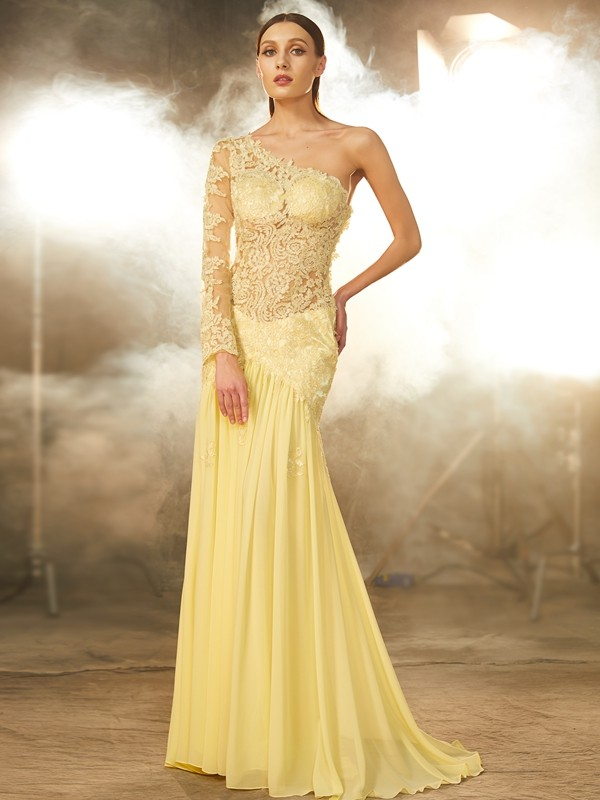 221300a8b42 Sheath Column One-Shoulder Lace Long Sleeves Sweep Brush Train Chiffon  Dresses
