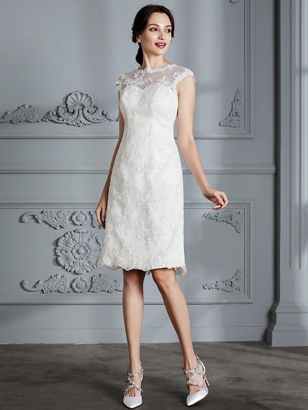 2db6cd1e1ff ... A-Line Princess Sleeveless Scoop Knee-Length Lace Satin Wedding Dresses  ...