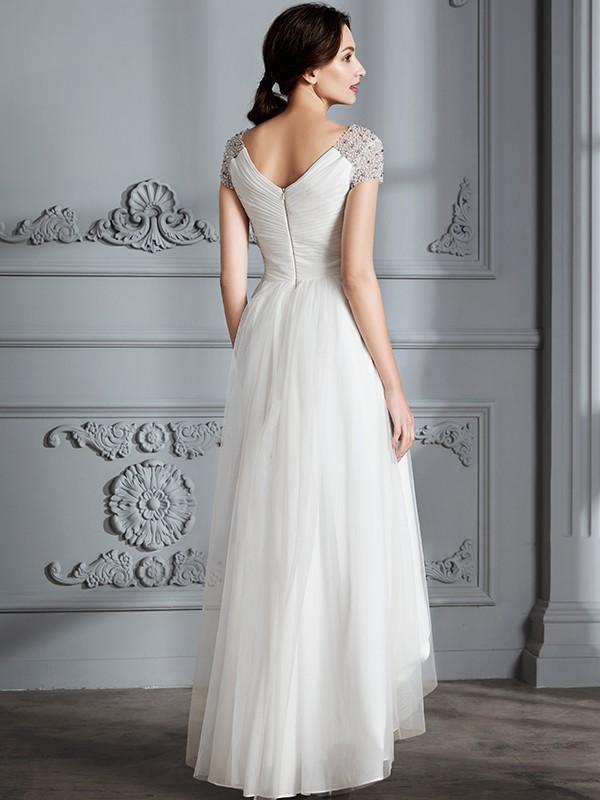 16cb95c2751f A-Line/Princess V-neck Short Sleeves Asymmetrical Tulle Wedding Dresses ...