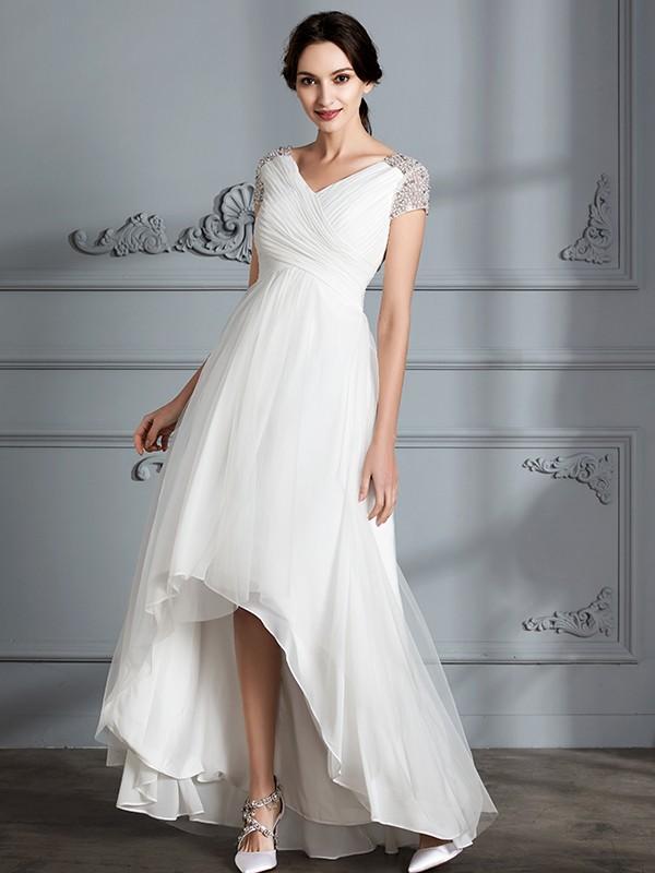 44acccc2ec7f ... A-Line/Princess V-neck Short Sleeves Asymmetrical Tulle Wedding Dresses  ...