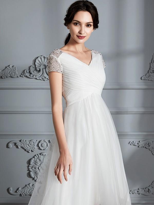0a2c3902dc21 A-Line/Princess V-neck Short Sleeves Asymmetrical Tulle Wedding ...