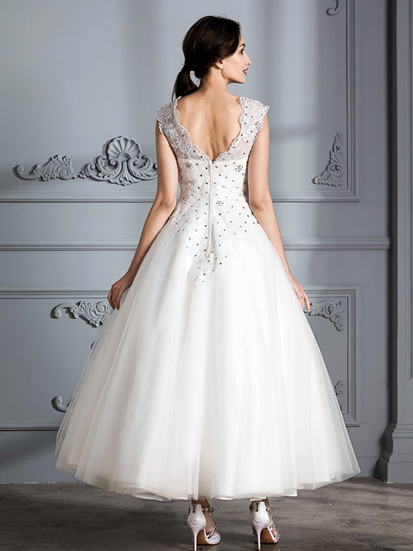 Ball Gown Scoop Sleeveless Tea-Length Tulle Wedding Dresses - Hebeos ...