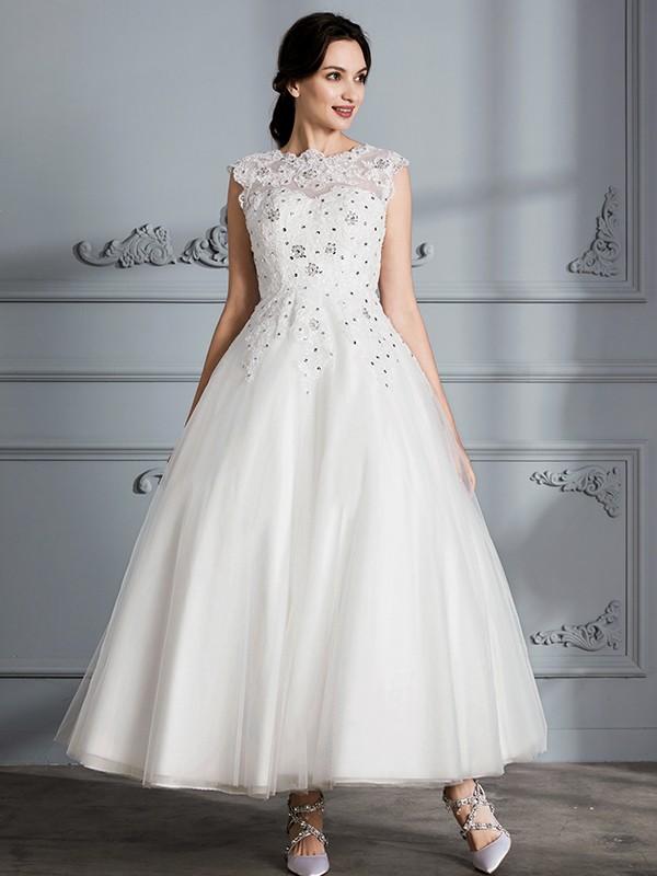 Ball Gown Scoop Sleeveless Tea-Length Tulle Wedding Dresses - Hebeos ...