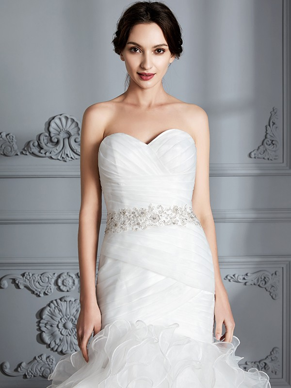 dd1bf54caa5 ... Trumpet Mermaid Sweetheart Sleeveless Ruffle Sweep Brush Train Satin  Wedding Dresses