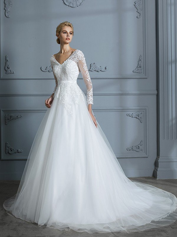 c0c6ffa48 Ball Gown V-neck Long Sleeves Court Train Lace Tulle Wedding Dresses ...