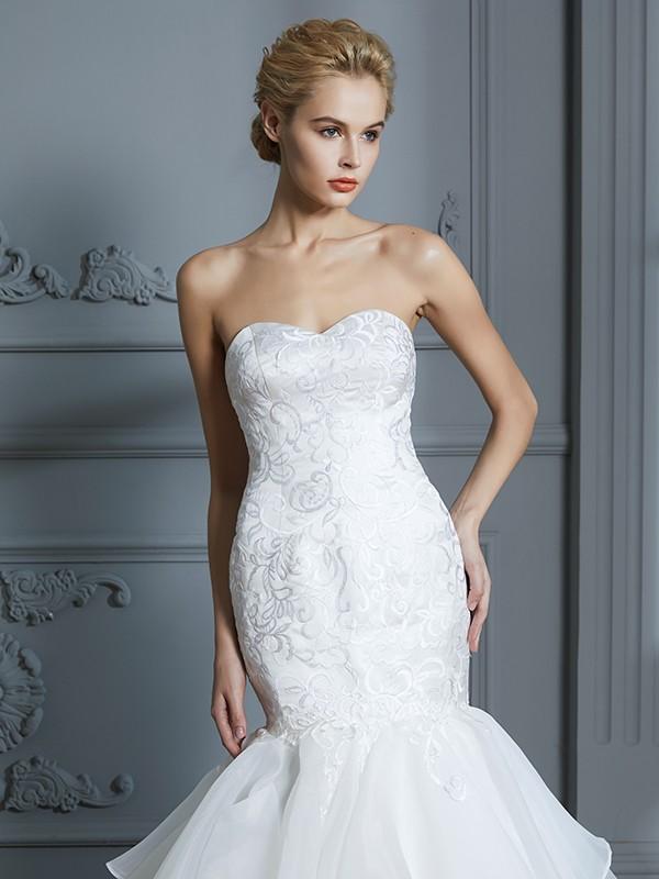 dc200ea5414 ... Trumpet Mermaid Sweetheart Sleeveless Ruffles Sweep Brush Train Organza  Wedding Dresses ...