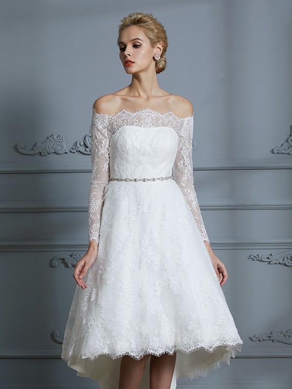 420a516075dd ... A-Line/Princess Long Sleeves Off-the-Shoulder Asymmetrical Lace Wedding  Dresses ...