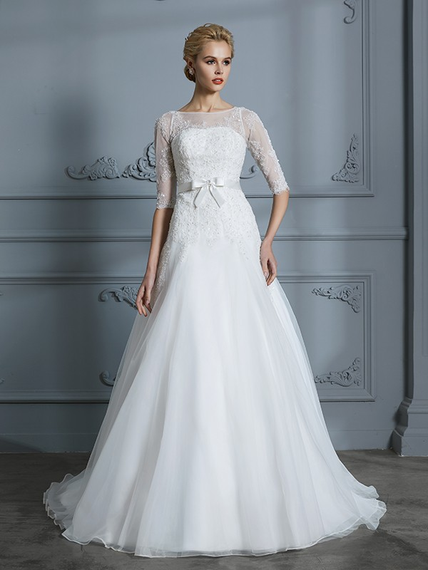 ce4e9635146 A-Line Princess 1 2 Sleeves Scoop Lace Court Train Tulle Wedding Dresses