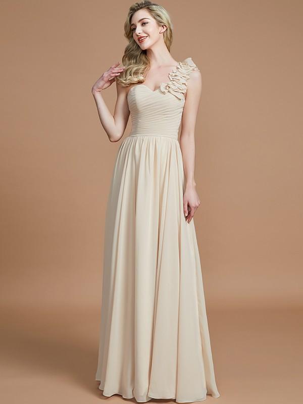 17a8231b04b A-Line Princess One-Shoulder Sleeveless Floor-Length Chiffon ...