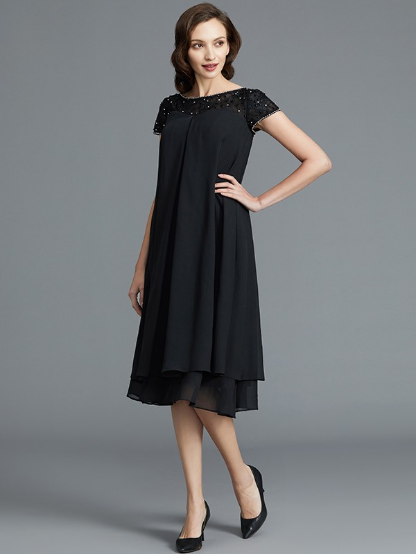 499cc87aa6d2 A-Line Princess Sleeveless Scoop Knee-Length Chiffon Mother of the Bride  Dresses