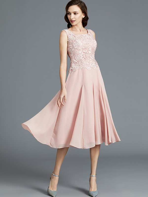 A Line Princess Sleeveless Scoop Tea Length Chiffon Mother Of The Bride Dresses