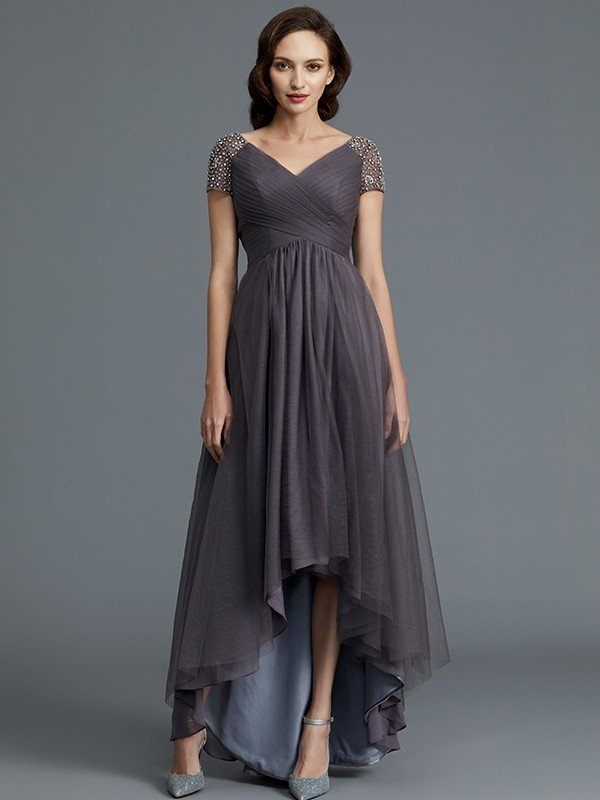 A Line Princess V Neck Short Sleeves Asymmetrical Tulle Mother Of The Bride