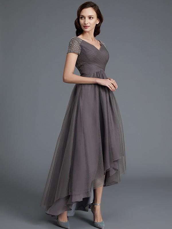 53c4d237ff A-Line Princess V-neck Short Sleeves Asymmetrical Tulle Mother of ...