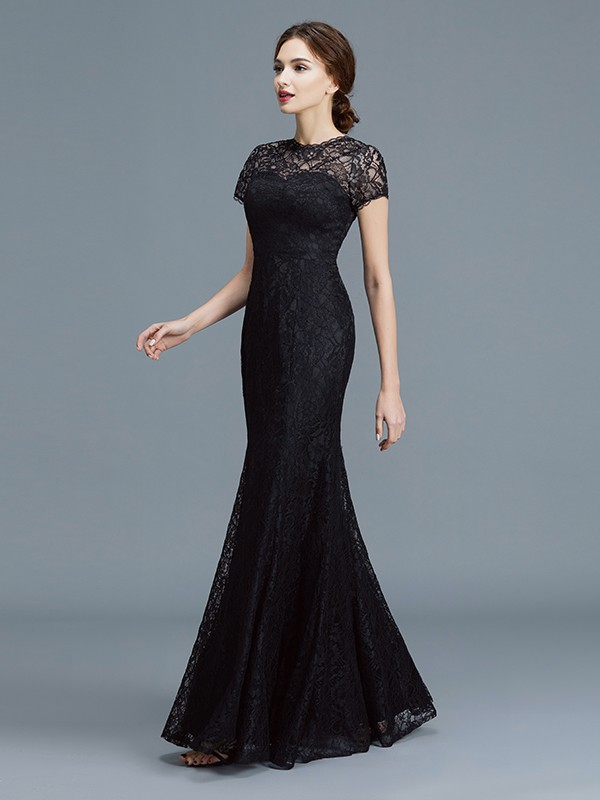 4cacaeccee ... Trumpet Mermaid Scoop Short Sleeves Lace Floor-Length Mother of the Bride  Dresses ...