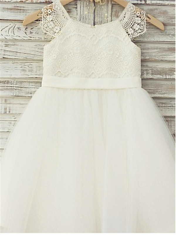 b04890b155 A-line Princess Scoop Sleeveless Lace Floor-Length Tulle Flower Girl Dresses