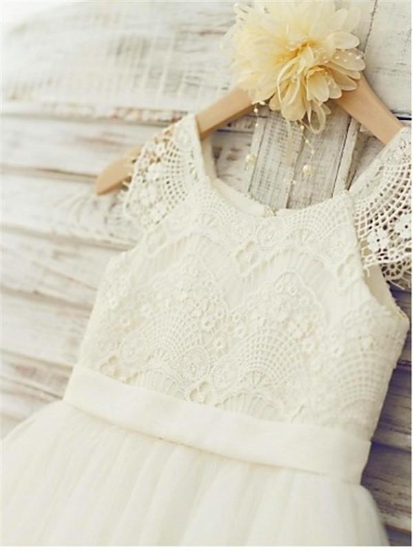 b0d53f08ee ... A-line Princess Scoop Sleeveless Lace Floor-Length Tulle Flower Girl  Dresses