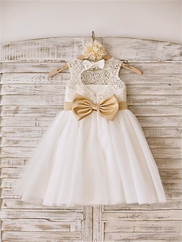 2f538b5ed3c A-line Princess Sleeveless Bowknot Scoop Floor-Length Tulle Flower Girl  Dresses