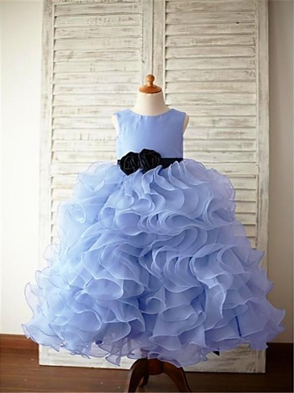 727e105db3a Ball Gown Sleeveless Scoop Ruffles Floor-Length Organza Flower Girl Dresses