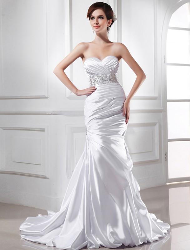 Trumpet mermaid beading sweetheart sleeveless elastic for Satin trumpet wedding dress