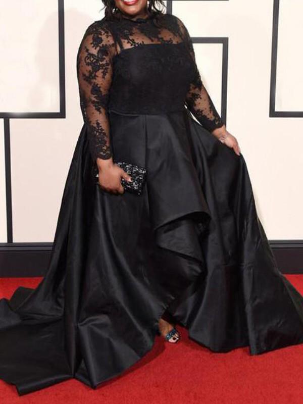 A-Line/Princess Sheer Neck Long Sleeves Applique Asymmetrical Satin Plus  Size Dresses