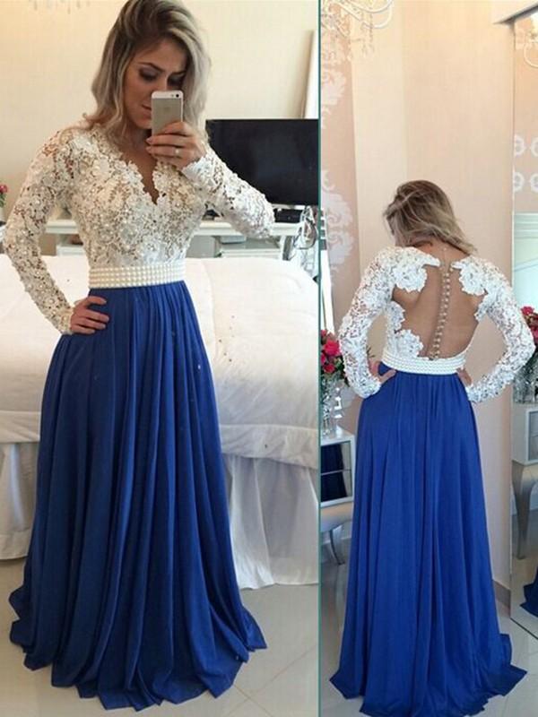 b75361a6c4 A-Line/Princess V-neck Long Sleeves Chiffon Floor-Length Pearl Dresses