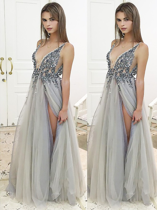91f62126512 A-Line Princess V-Neck Sleeveless Floor-Length Beading Tulle Dresses ...