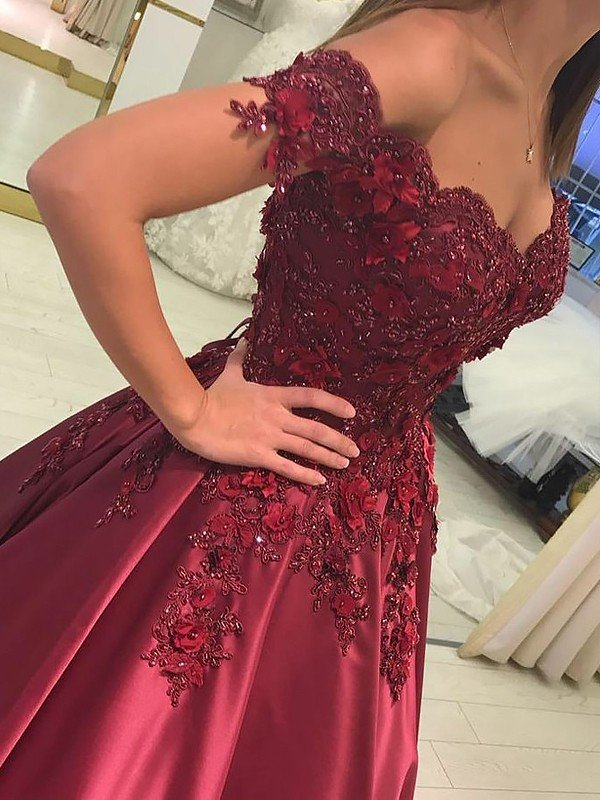 7f03f396f1d7 Ball Gown Sleeveless Off-the-Shoulder Applique Satin Floor-Length Dresses