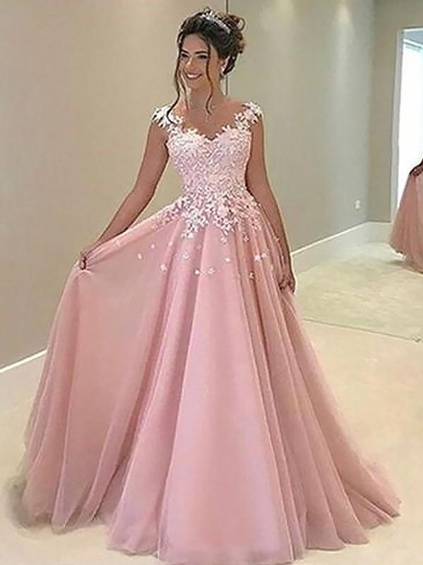 e31fd8ecfe5 A-Line Princess Sweetheart Sleeveless Floor-Length Applique Tulle Dresses
