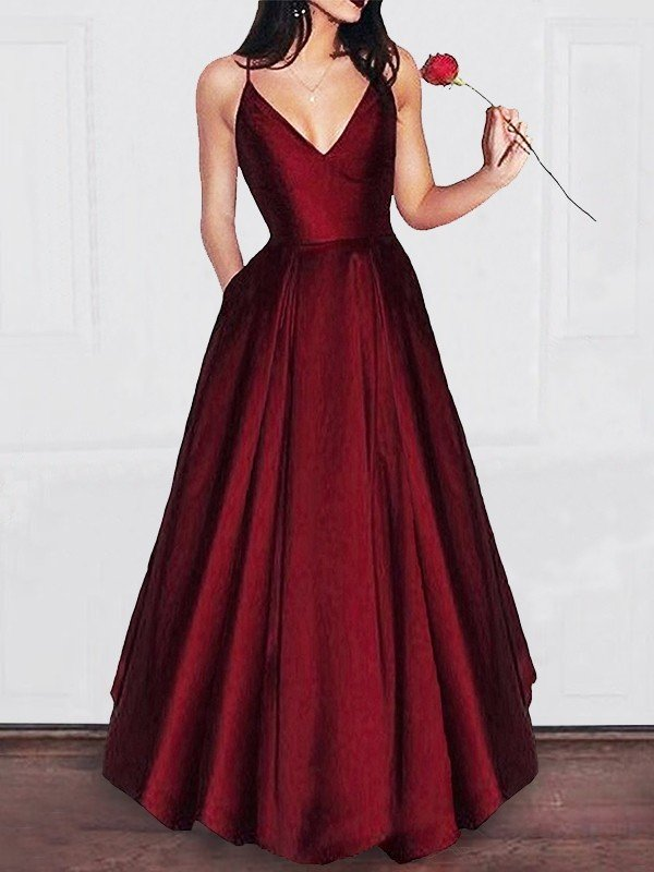 af7c90b97ab A-Line Princess V-neck Floor-Length Ruffles Satin Dresses - Hebeos