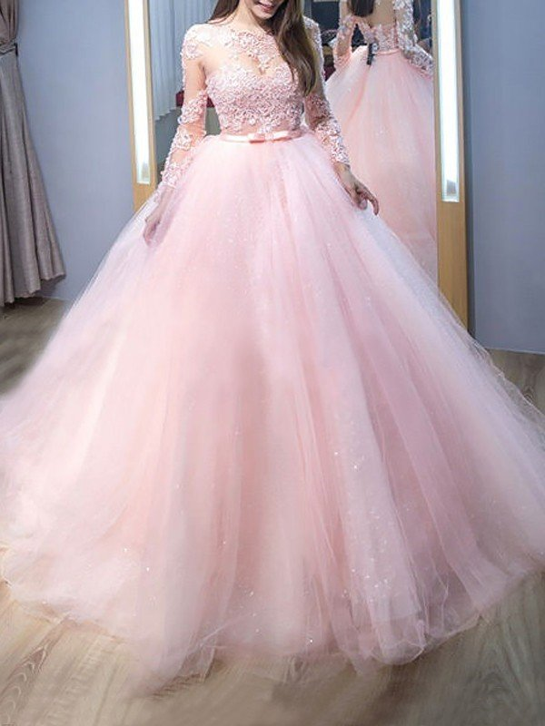 Ball Gown Jewel Long Sleeves Sweep/Brush Train Lace Tulle Dresses ...