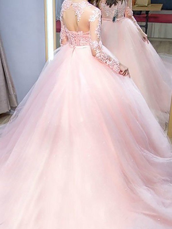 6474a30552a84 Ball Gown Jewel Long Sleeves Sweep/Brush Train Lace Tulle Dresses ...