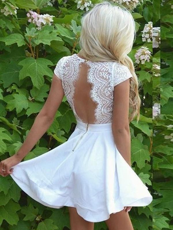 4322e9ba866a A-Line/Princess V-neck Lace Satin Short Sleeves Short/Mini Dresses ...