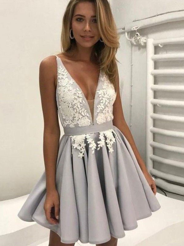 b6449de1d0 A-Line Princess V-Neck Sleeveless Satin Applique Short Mini Dresses ...