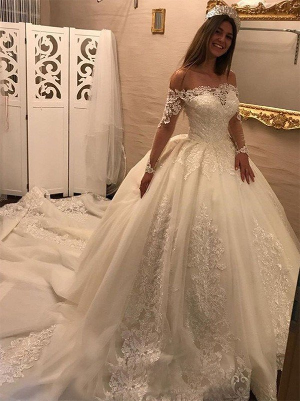 8b30072dfd813 Ball Gown Off-the-Shoulder Long Sleeves Cathedral Train Applique Tulle  Wedding Dresses