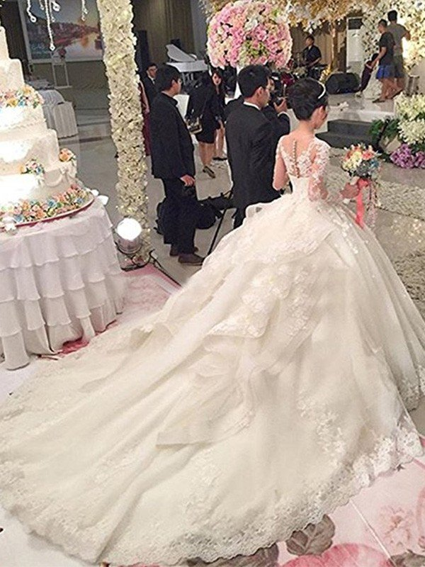 d904a7c5b528 Ball Gown Scoop Cathedral Train Long Sleeves Lace Applique Tulle Wedding  Dresses ...