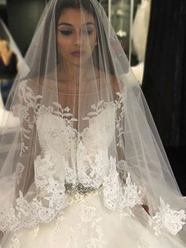 45c82b54aa73 Ball Gown Scoop Long Sleeves Lace Cathedral Train Applique Tulle Wedding  Dresses ...