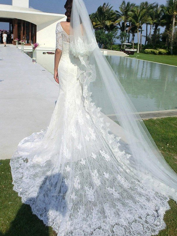 ae2cb0f21f3d Trumpet/Mermaid 1/2 Sleeves Square Cathedral Train Applique Lace Wedding  Dresses ...