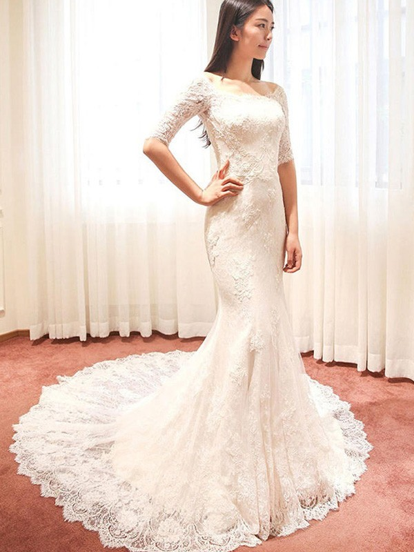 b3d6265b7efd ... Trumpet/Mermaid 1/2 Sleeves Square Cathedral Train Applique Lace  Wedding Dresses ...