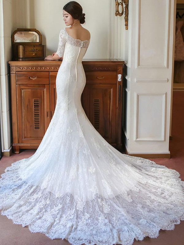 887dac86a2ab ... Trumpet/Mermaid 1/2 Sleeves Square Cathedral Train Applique Lace  Wedding Dresses