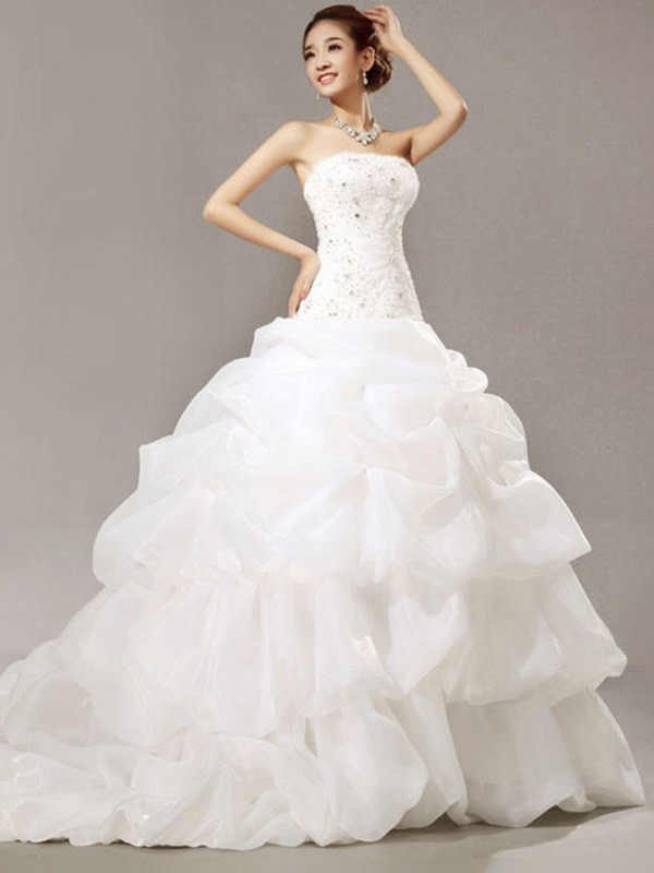Ball Gown Sleeveless Strapless Cathedral Train Beading Lace Pleats ...
